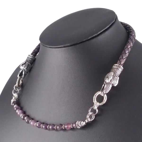amethyst raven necklace choker gray leather