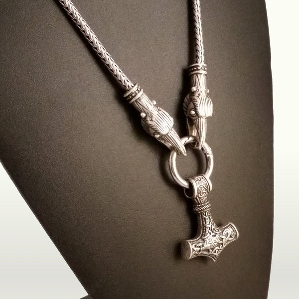 viking necklace raven silver Thor's hammer
