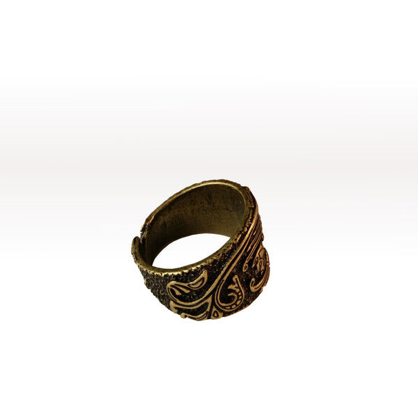 viking ring raven bronze