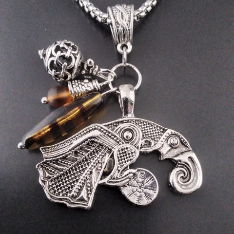 raven necklace silver amber viking