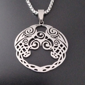 viking raven knotwork necklace silver norse chain
