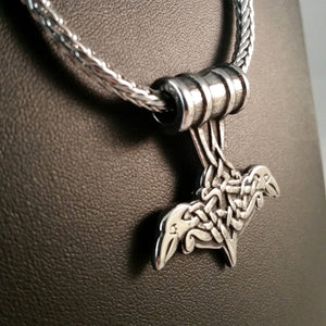 viking thor's hammer ravens silver necklace