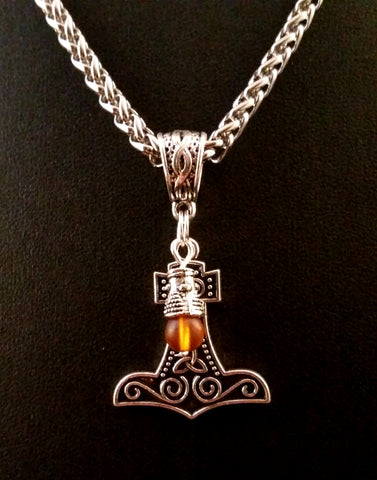 silver amber charm necklace thor's hammer boho LARP viking glass