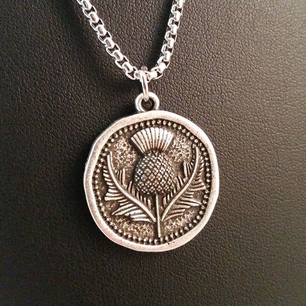 scottish thistle coin necklace silver medieval