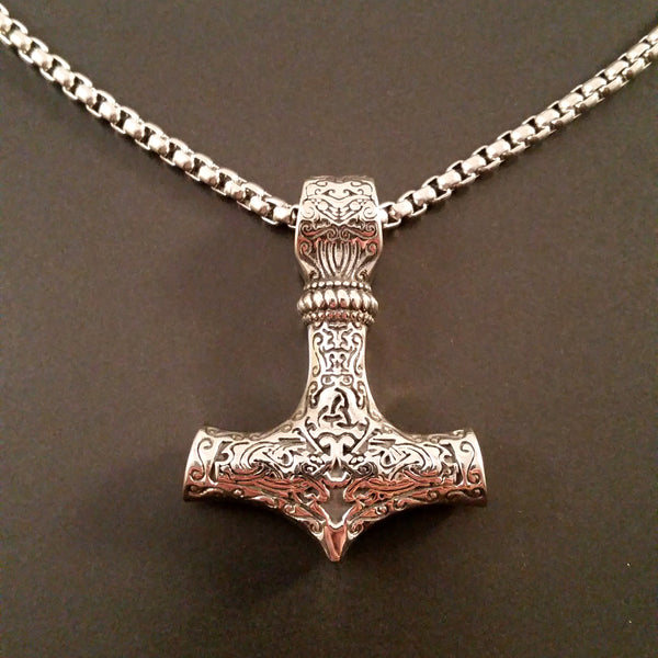 Viking Thor's Hammer Necklace Silver Box Weave Chain Scroll Embossed Pendant