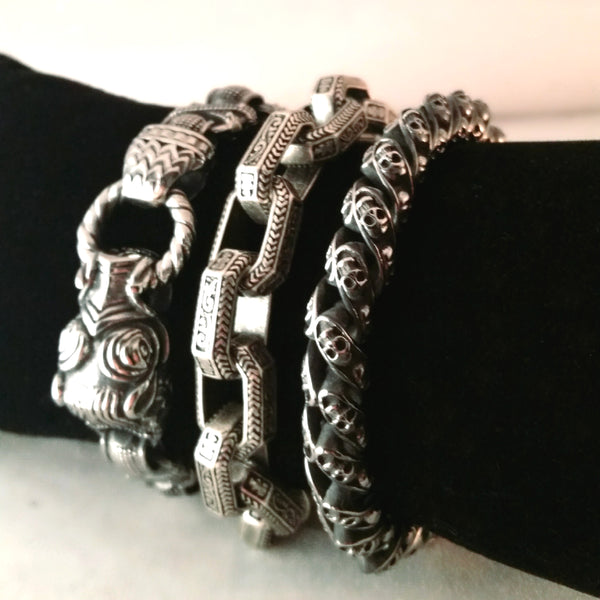 Boar bracelet silver chain link mens viking tribal gift
