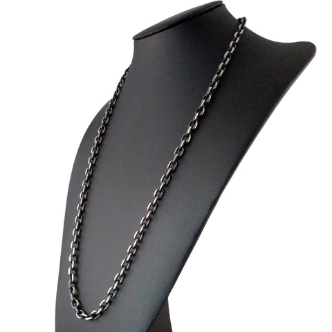 Mens chain necklace rolo rectangle large gunmetal black silver long