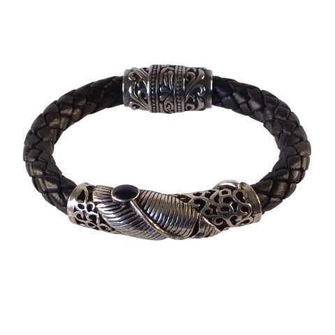 Silver Feather Black Leather Bracelet