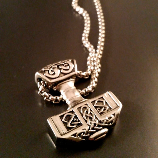 thor's hammer necklace silver knotwork viking norse