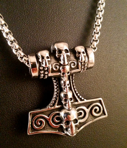 Fenris Thor's Hammer Necklace Silver Skulls Box Weave Chain