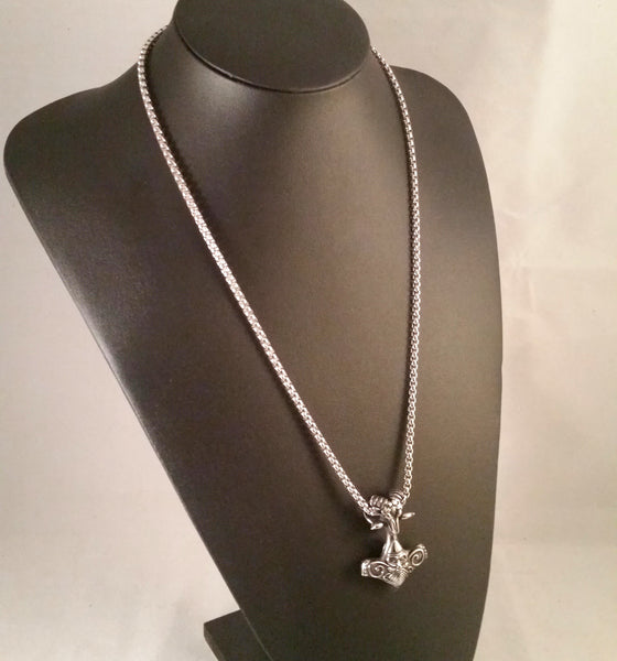 thor's hammer necklace silver odin ram head viking norse