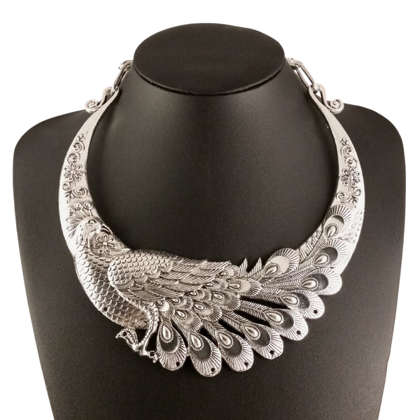 silver peacock choker statement necklace