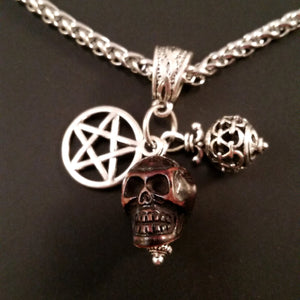 necklace pentagram skull silver pagan gothic goth wood