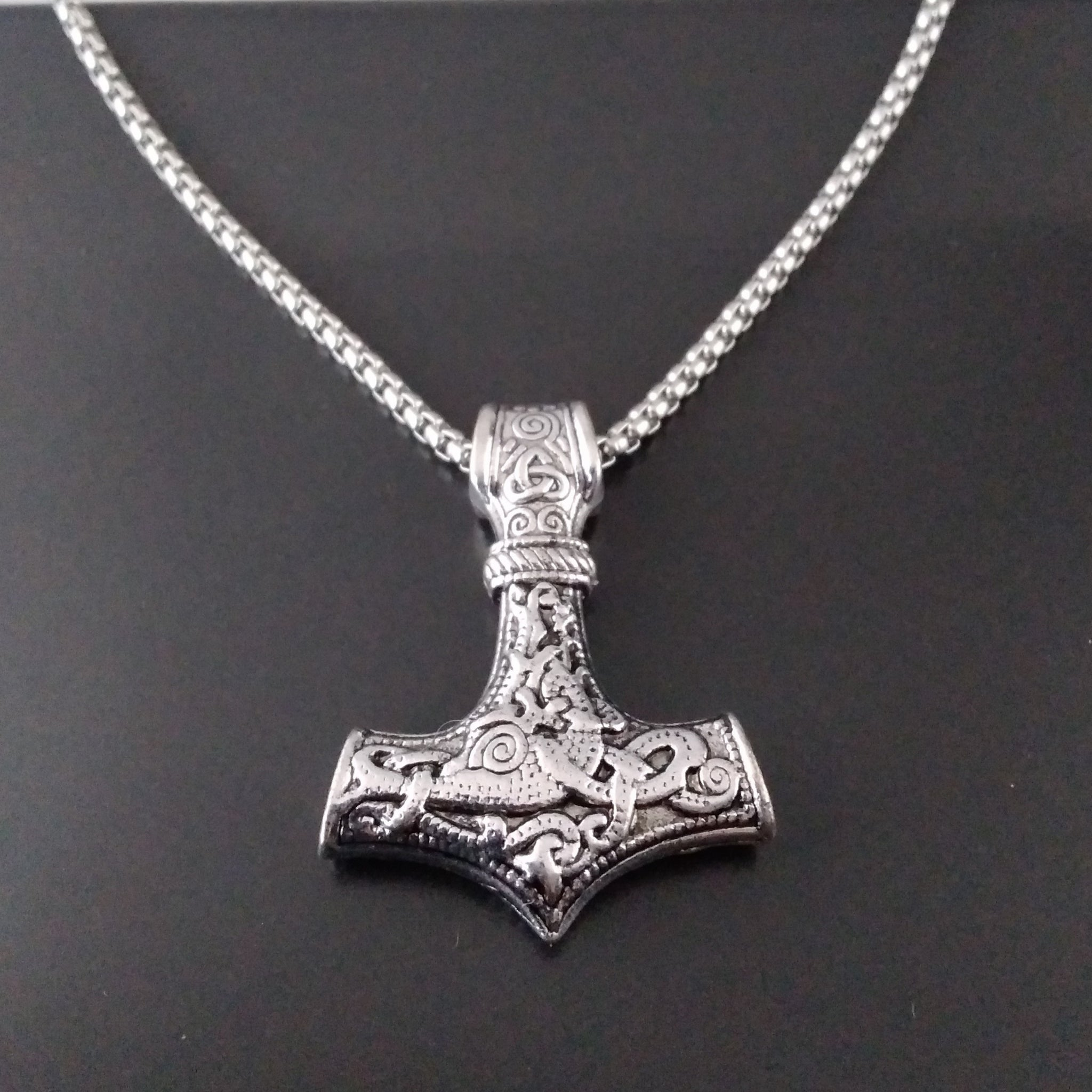 thor's hammer silver necklace chain viking larp norse