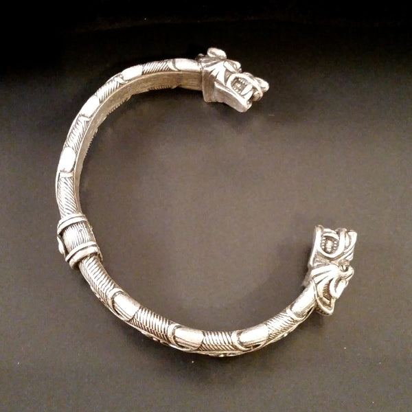 wolf bracelet silver knotwork viking celtic larp rock