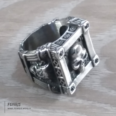 skull ring silver biker rock viking gothic goth mens