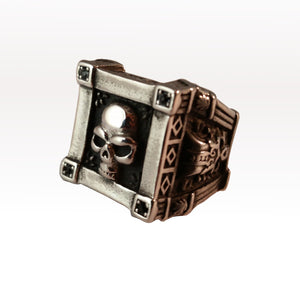 ring skull silver gothic tomb biker