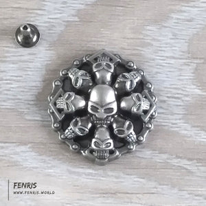 skull rivet studs silver round large biker punk leather