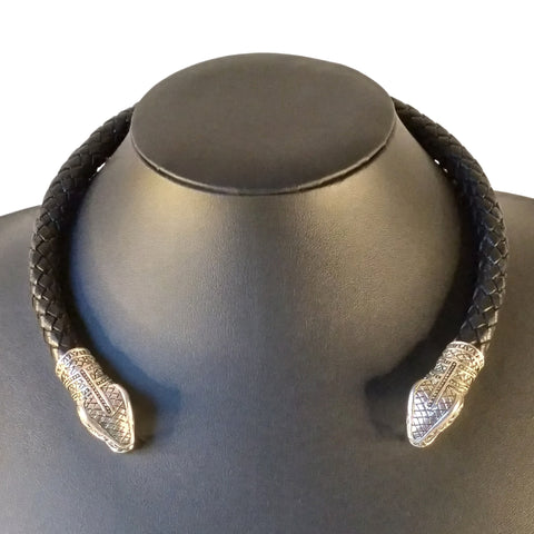 snake torc choker necklace silver black mens serpent larp viking