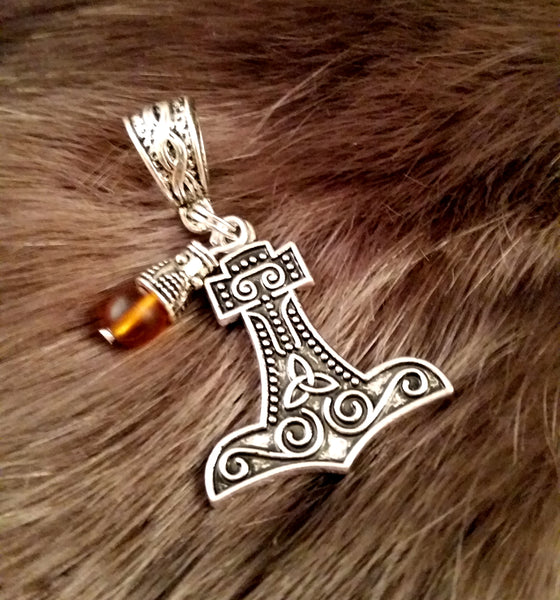 silver amber necklace charm thor's hammer LARP Viking