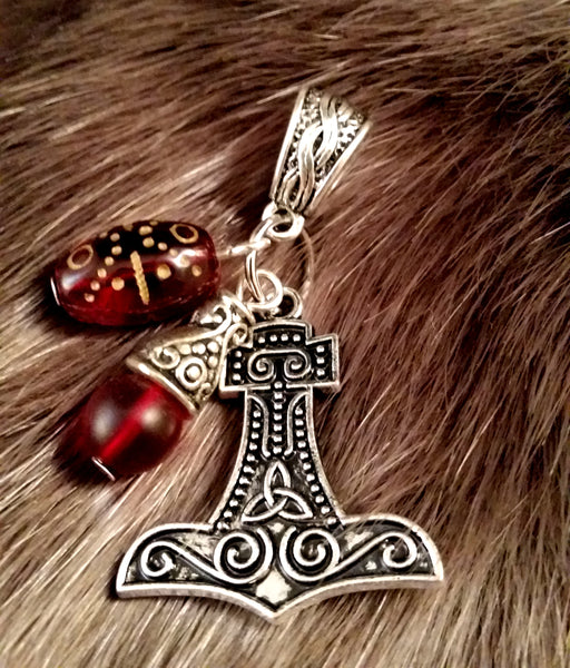 silver red glass necklace charm thor's hammer LARP Viking
