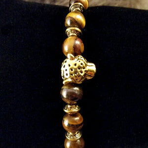 Bead Bracelet Brown Tiger Eye Gold Leopard Yoga Energy Bracelet
