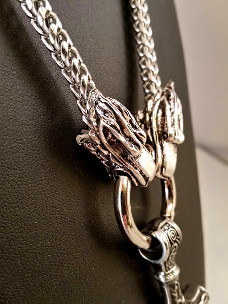 necklace silver dragon thor's hammer mens viking
