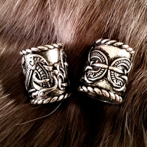 Viking Beard Braid Beads Silver Dragon Knotwork LARP