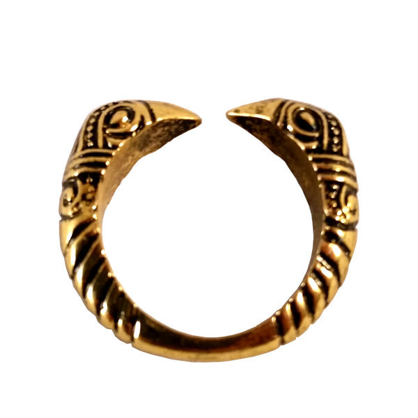 raven ring gold viking celtic anglo saxon sca larp
