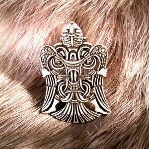 raven brooch silver viking celtic sca larp cloak tunic