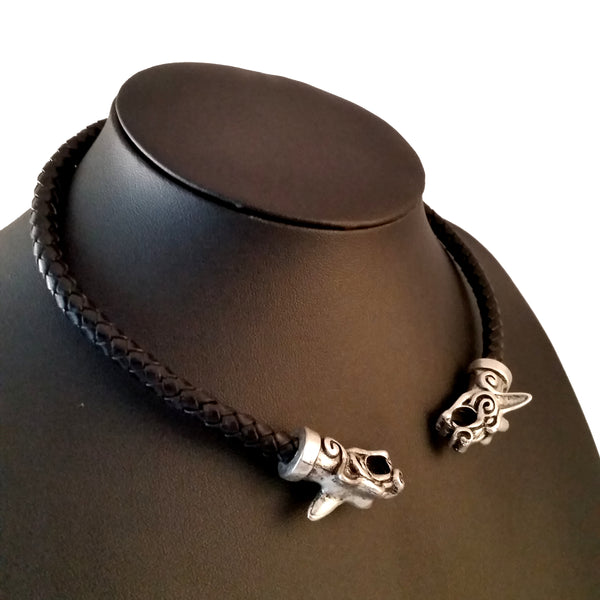 black leather necklace silver celtic dogs torc choker LARP Rock Viking