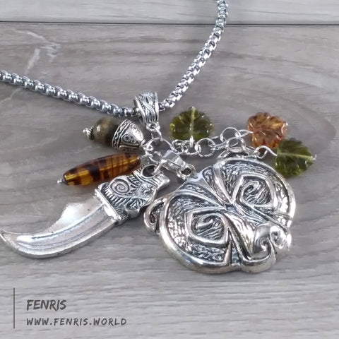 bear necklace silver amber forest nature viking norse mens womens unisex