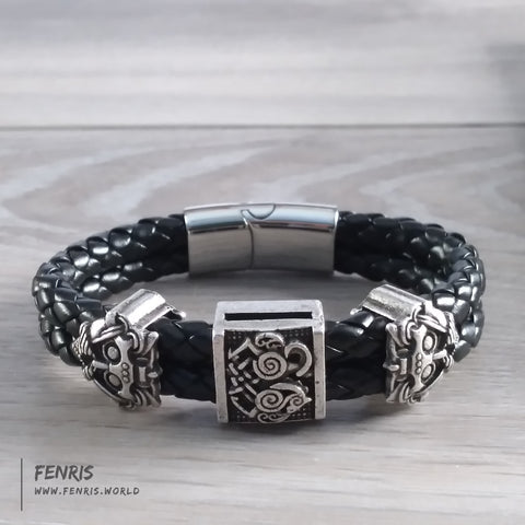 odin sleipnir bracelet silver black leather viking norse mens womens unisex