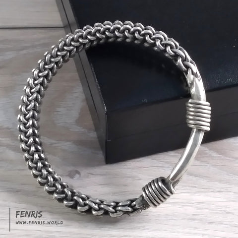 bracelet silver wire weave norse viking mens womens braided