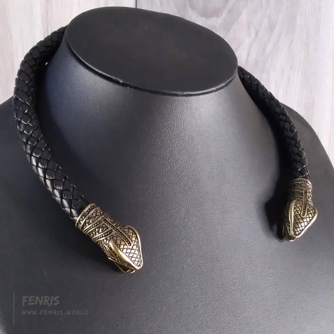 snake torc necklace bronze black leather viking larp mens womens unisex