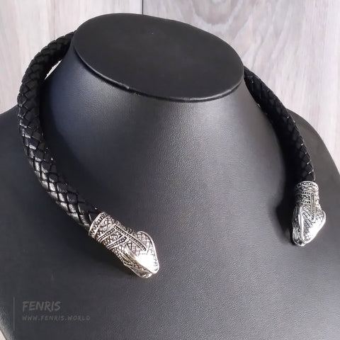 snake torc necklace silver black leather viking celtic norse mens womens unisex