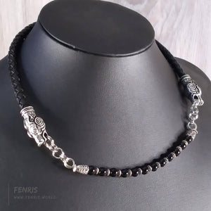 choker necklace wolf black leather obsidian viking celtic norse mens womens