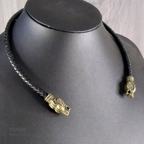 wolf torc necklace bronze black leather norse viking mens womens