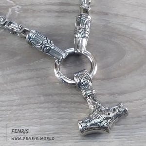 Thor's hammer necklace silver wolf byzantine viking norse mens womens