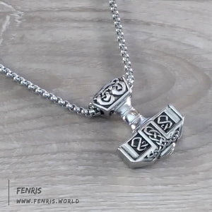 Thor's hammer necklace silver knotwork norse viking celtic mens womens