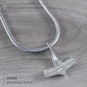 thor's hammer necklace silver viking norse mens womens
