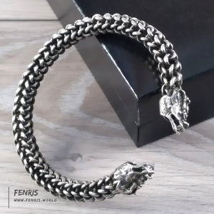 bracelet silver dragon viking wire weave norse