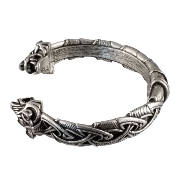 wolf bracelet silver knotwork mens viking norse nature