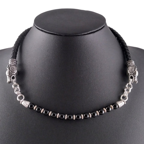 Wolf Choker Black Leather & Silver With Obsidian Beads
