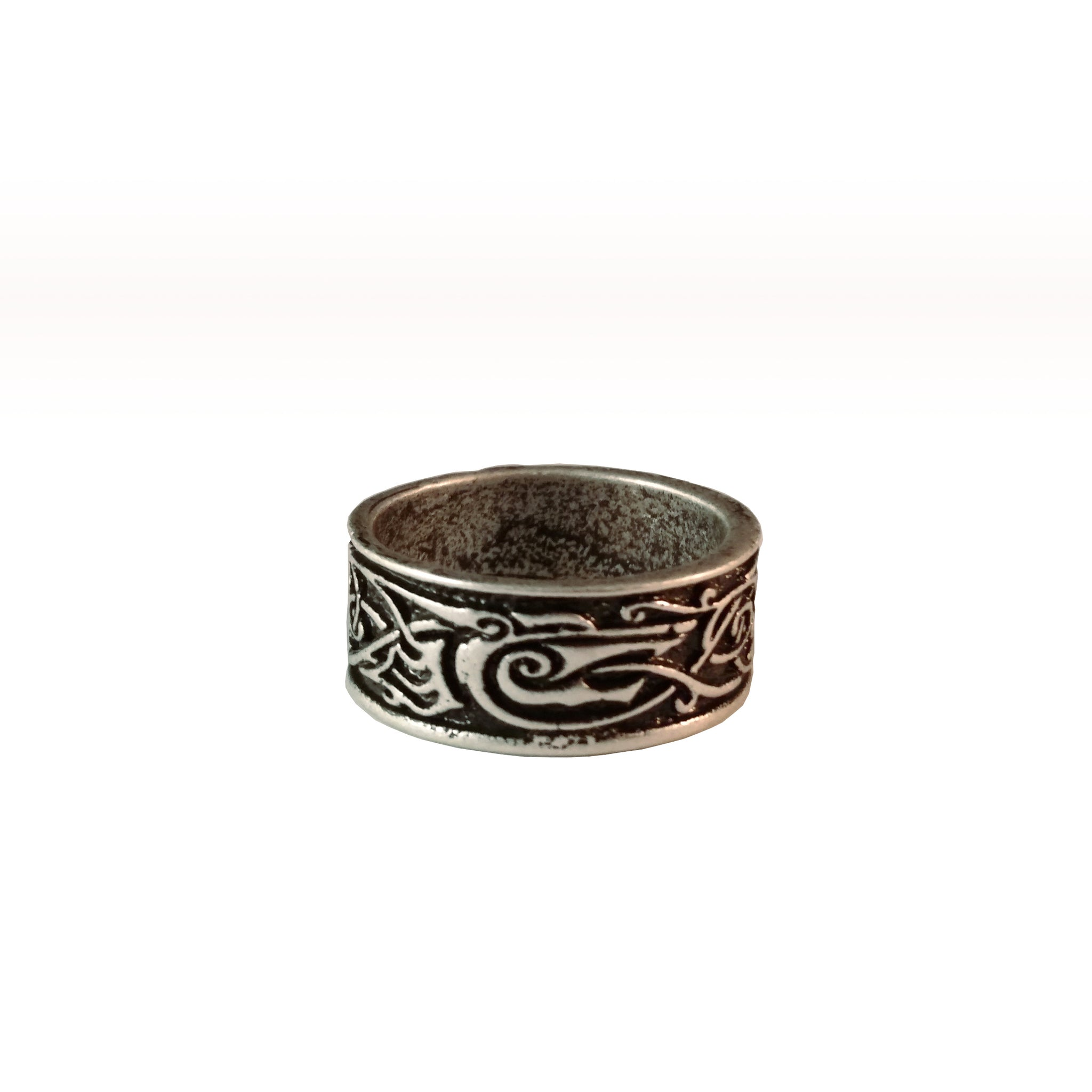 ring silver viking celtic wolf knotwork