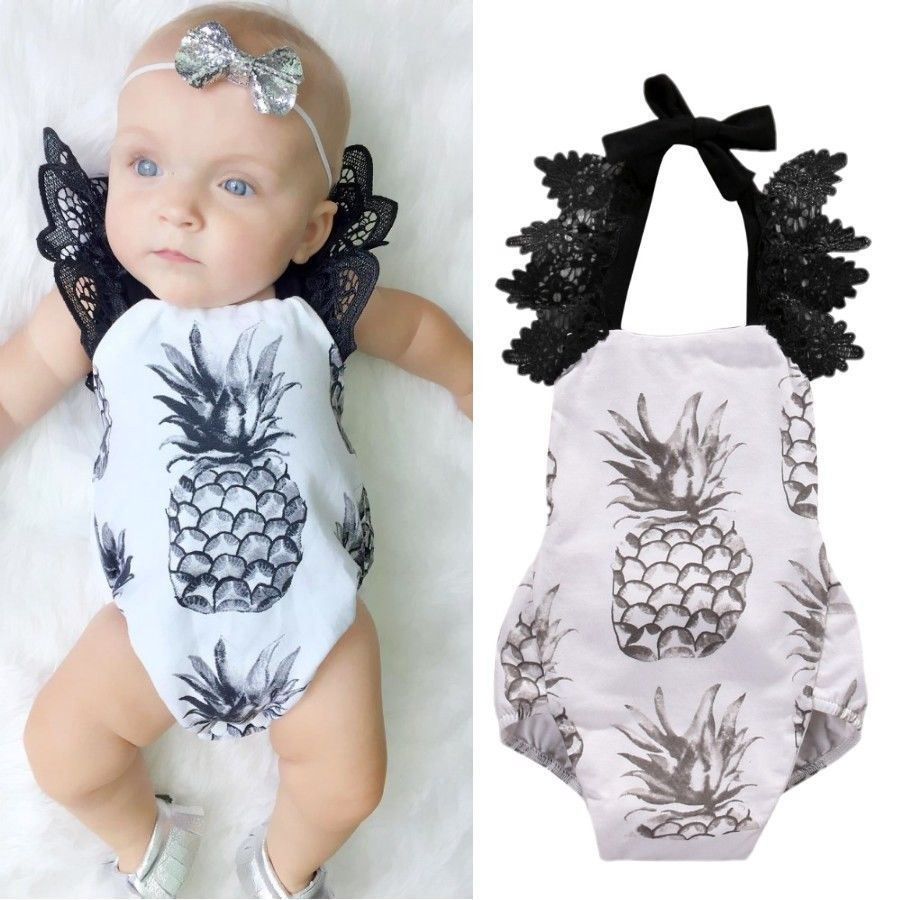Newborn Baby Girls Pineapple Backless Halter Ruffle Lace Romper /Jumpsuit Lace Sleeveless  One-piece