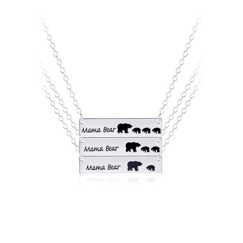 New Trendy Gold/Silver Mama Bear and Kid Bear Necklace