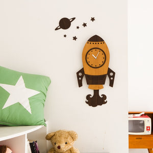 3D Wooden Space Ship Wall Clock