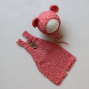 Newborn Baby Infant Photography Props Boy Girl Outfits Cute Bear Hat and Overalls