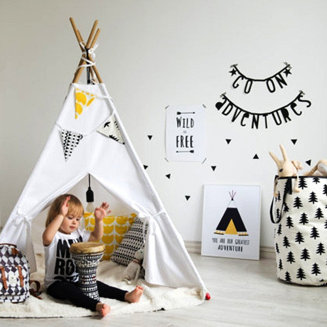 Kids Play Tent Cotton Canvas Teepee Play House Baby Room Tipi Room Decor Nordic Style Photo Props Four Poles Children Toy Tent